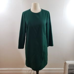 J. Crew | Green Overlapped long-sleeve shift dress